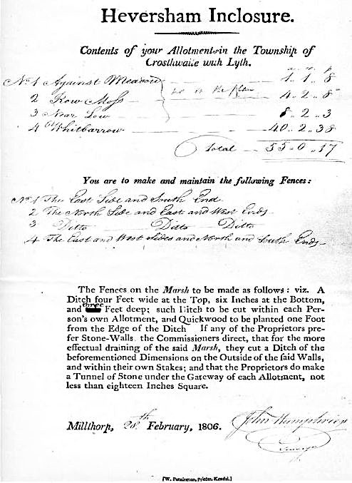 Letter to Robert Turner, dated 1806 about Inclosure Award <small>(Argles Papers, Cumbria Record Office (Kendal) WD/A Acc2014</small>