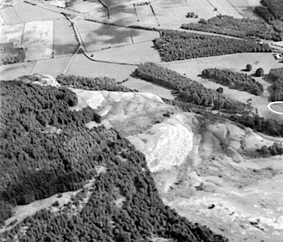 Southern tip of Whitbarrow Scar showing aerial view of plantations at the entrance to Whitbarrow