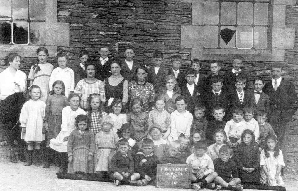 Crosthwaite School in 1922, teachers Hetty Airey, Nellie Airey and Mr. James Prickett
