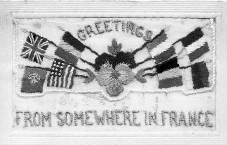 Christmas card, silk embroidered, sent home from France to the Walling family in the First World War