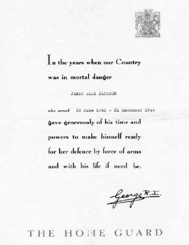 Certificate of thanks from George VI to Alan Jackson, received by every member of the Home Guard