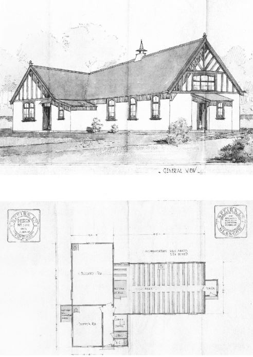 Original plans for the Hall by Spiers of Glasgow, shelved because of the first World War