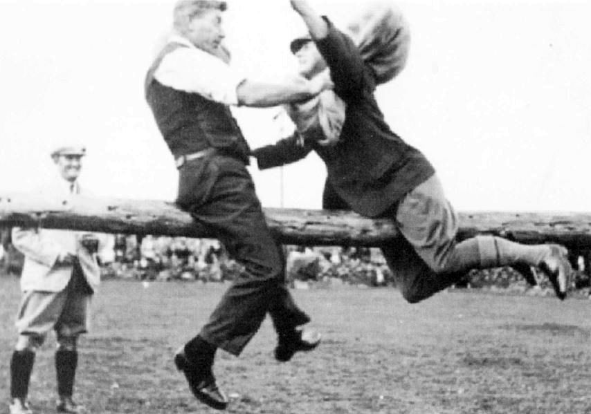 George Graveson, on the left, pillow fighting