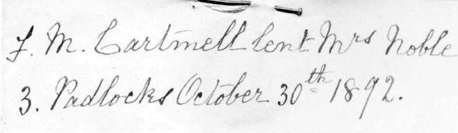 Note from Frances Mary Cartmell's notebook
