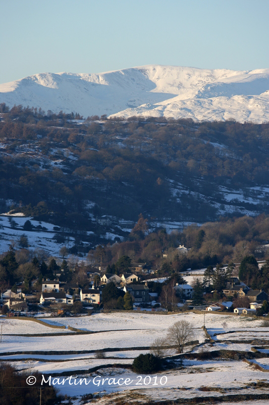 Crosthwaite in Snow with Fairfield behind, from Whitbarrow January 7 2010 R 010EL