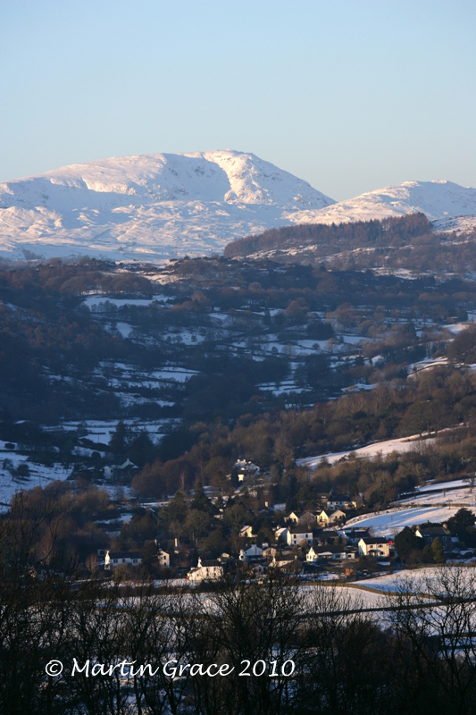 Crosthwaite in Snow with Red Screes behind, from Whitbarrow January 7 2010 R 028EL