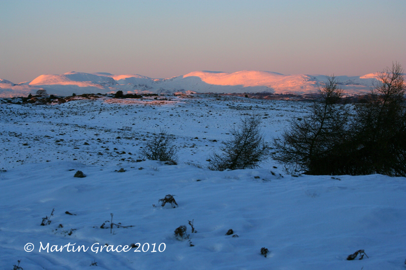 Last Rays of Sunlight at Dusk on Fells, Whitbarrow, January 7 2010 R 021E2L