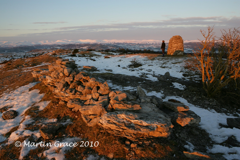 Lord's Seat with Hervey Memorial Cairn, Whitbarrow Fell, January 3 2010 R 043L